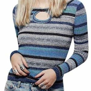 Free People Sunshine Dreamer Keyhole Sweater S